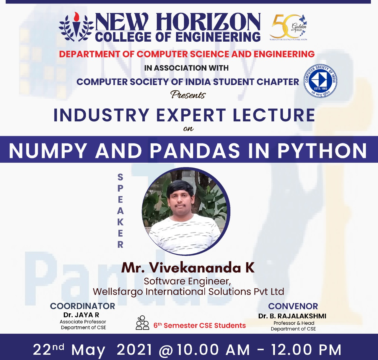 Expert Lecture on Numpy and Pandas in Python